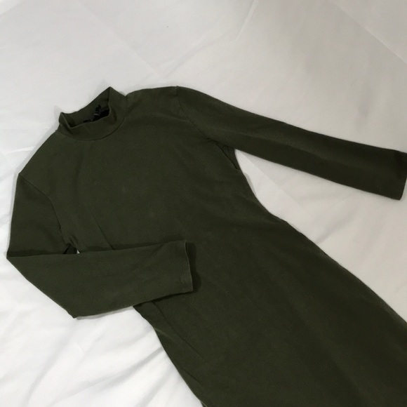 Forever 21 Dresses & Skirts - Forever 21-long fitted dress, olive green, size S